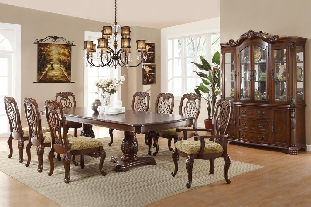 Marisol Cherry Finish Formal Dining Room Table Set Double Pedestal Dining Table Antique