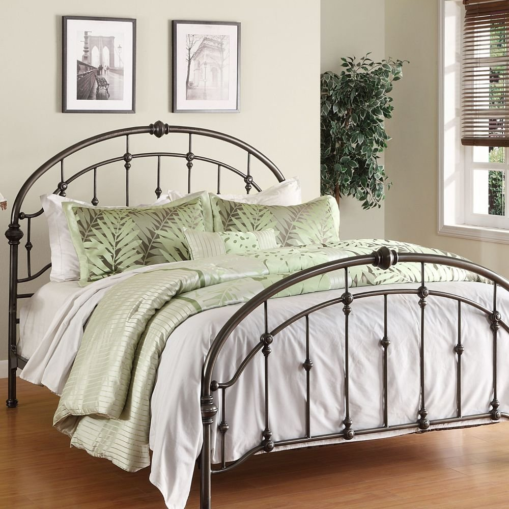 Metal Bed Frame Antique Pewter Steel Headboard Footboard Making An Wrought Iron Headboard