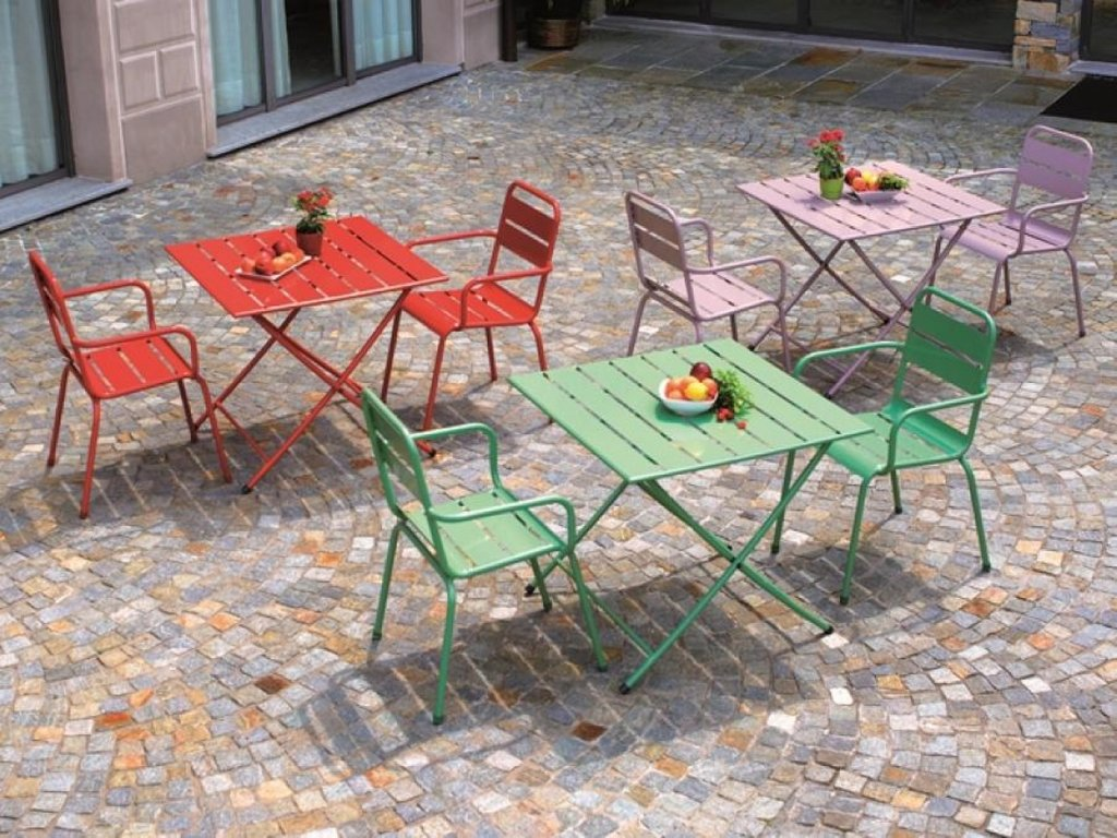 Metal Folding Garden Chairs Indoor Bistro Table Red Considering For Square Bistro Table