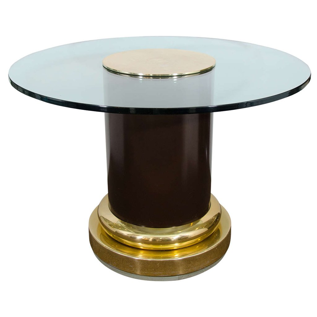 Midcentury Glass Top Table Cylindrical Column A Unique Square Lift Top Coffee Table