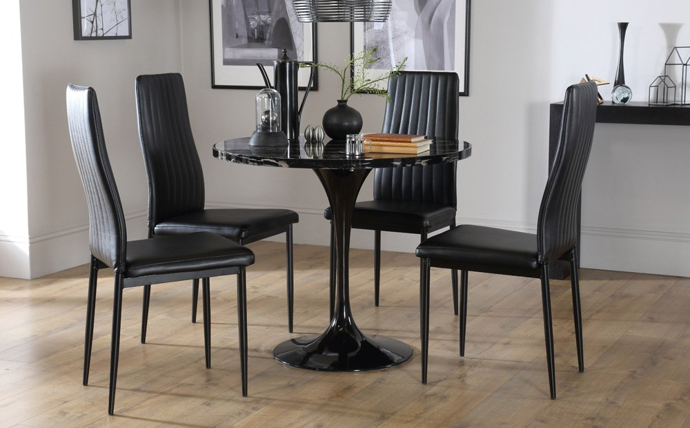 Mila Marble Dining Room Table 4 Leon Chair Set How To Refinish Marble Table Tops