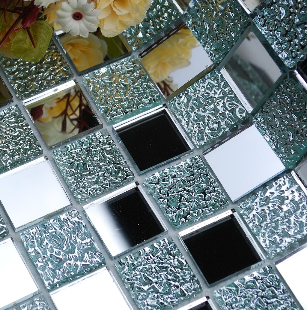 Mirror Mosaic Tile Bathroom Home Design Idea Decorating Square Picnic Table