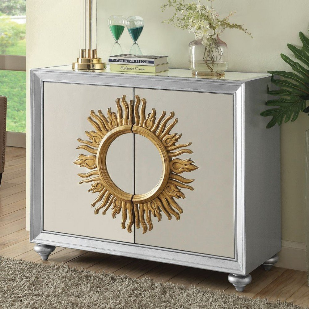 Mirrored Accent Cabinet Gold Wood Finish Coast Mirrored End Table Ideas Decor