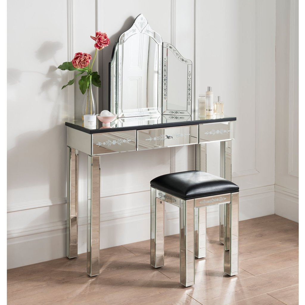 Mirrored Etched Dressing Table Set French Furniture Create Dressing Table With Mirrored Dresser