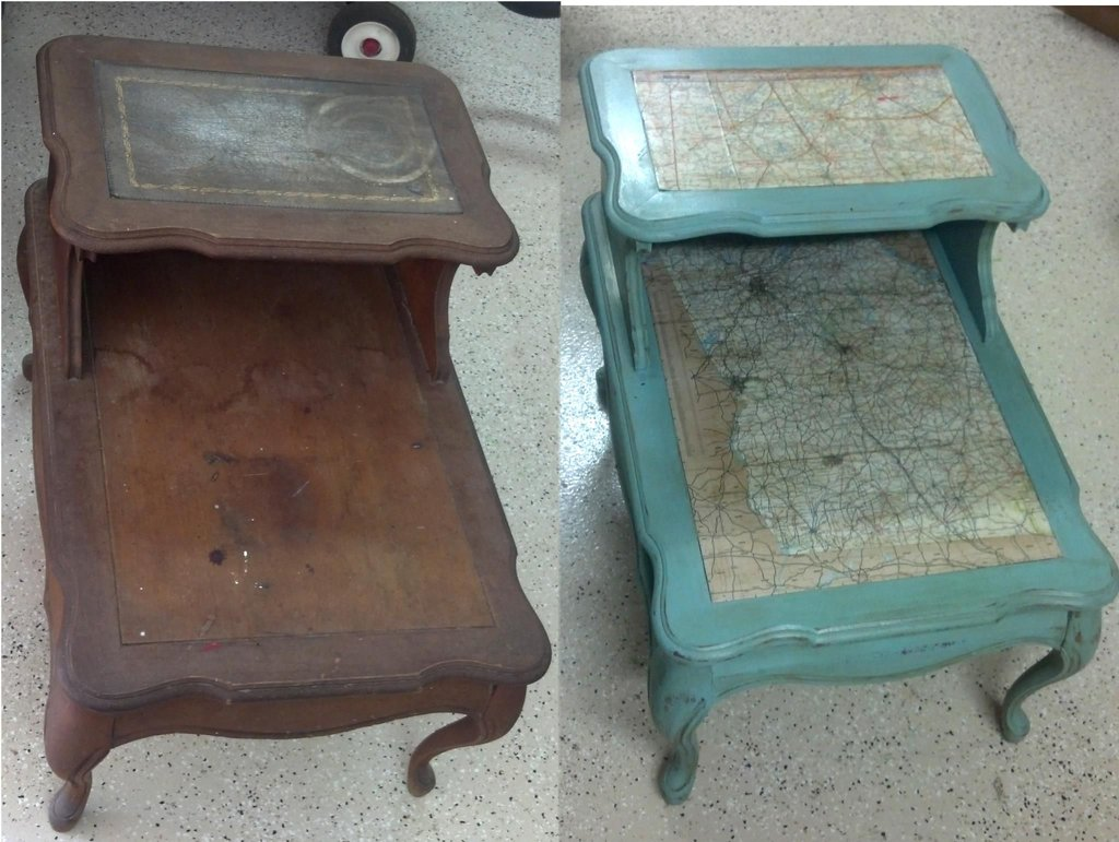 Mod Podge Effect Chalk Paint Powder Painted The Wicker End Tables