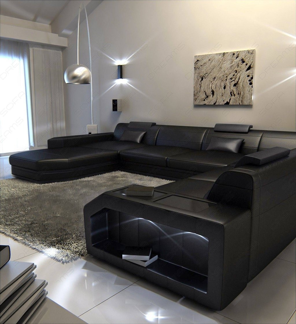 Modern Black Leather Sofa Square Leather Ottoman Coffee Table