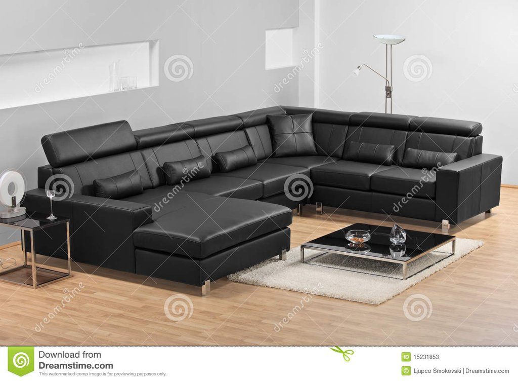 Modern Minimalist Living Room Leather Sofa Stock Fascinating Black Leather Sectional