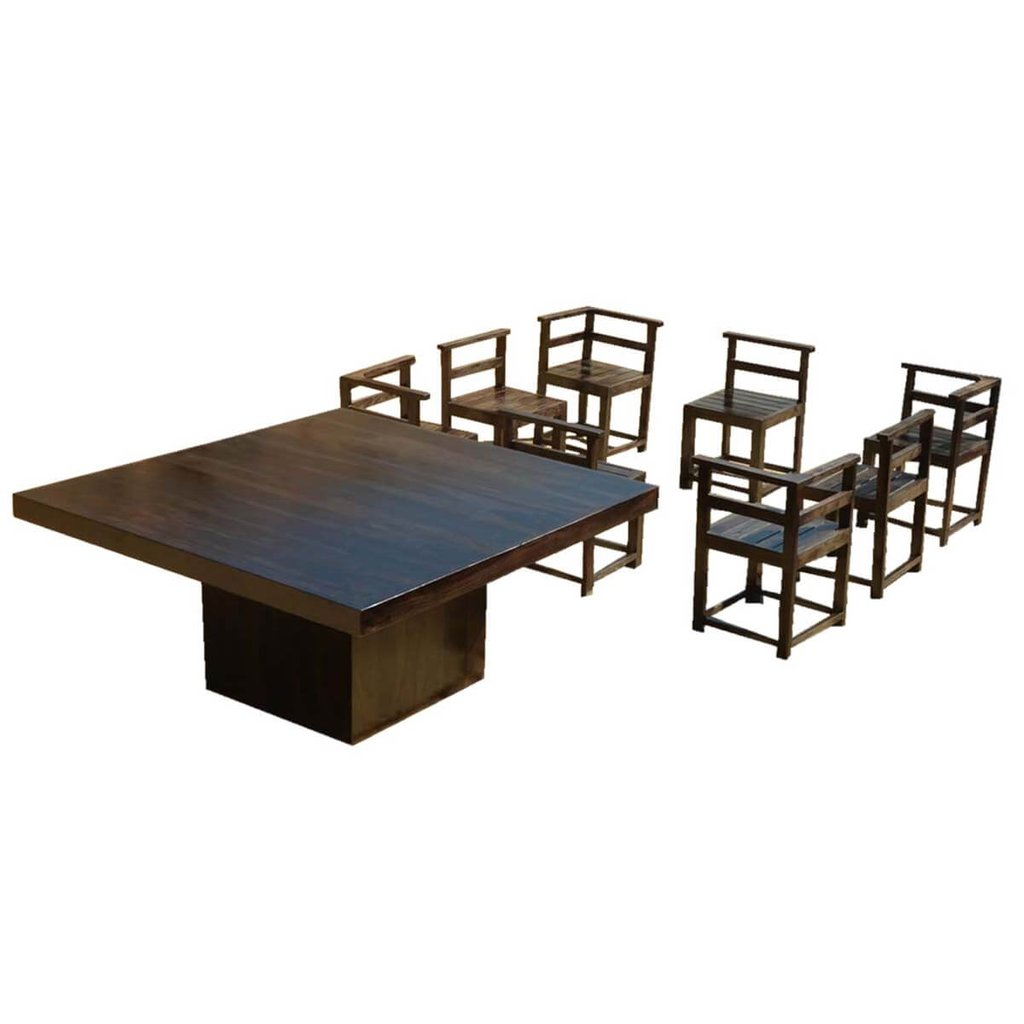 Modern Rustic Solid Wood 64 Square Pedestal Dining Table How To Make Square Pedestal Dining Table