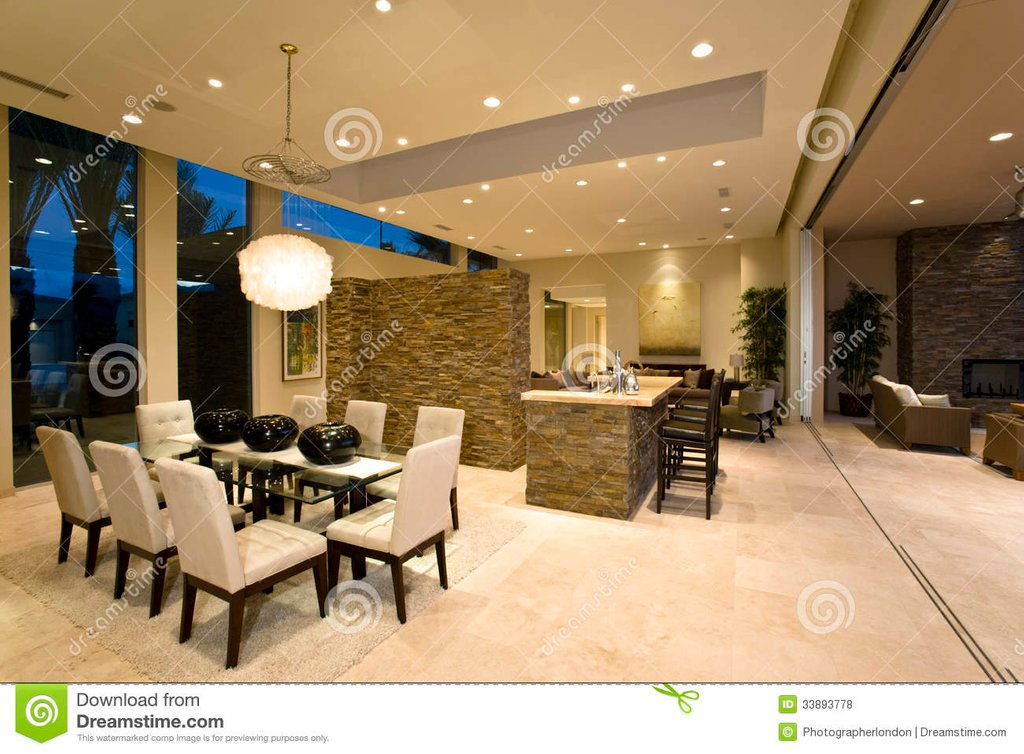 Modern Spaciou House Interior Stock Photo Image Color Design For House Interior Dining Room