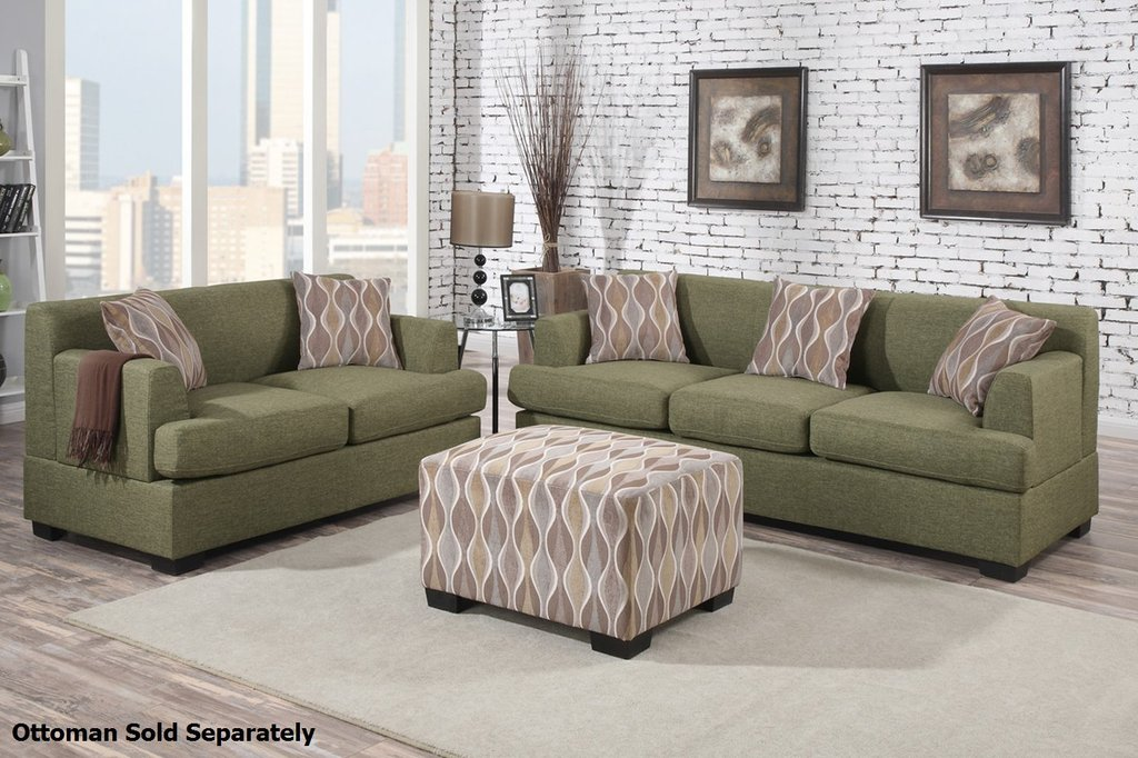 Montreal Green Fabric Sofa Loveseat Set Steal Sofa Leather Sofa And Loveseat Covers