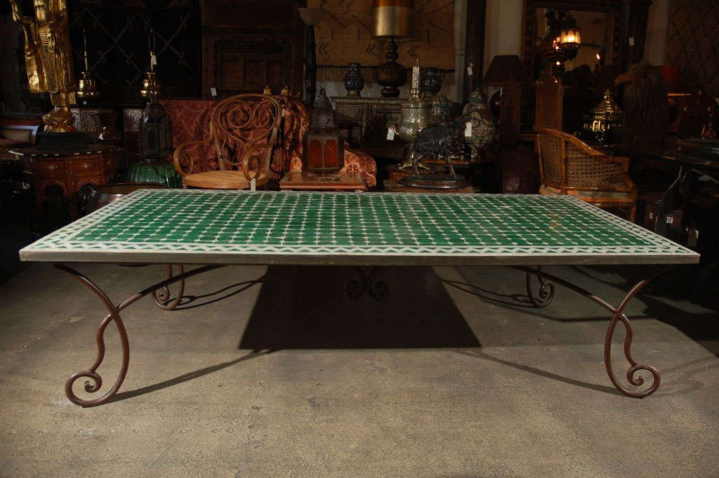 Moroccan Vintage Mosaic Green Tile Coffee Table 1stdib Considering For Square Bistro Table