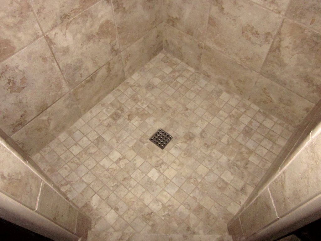 Mosaic Tile Shower Floor Idea Installation Of Pebble Tile