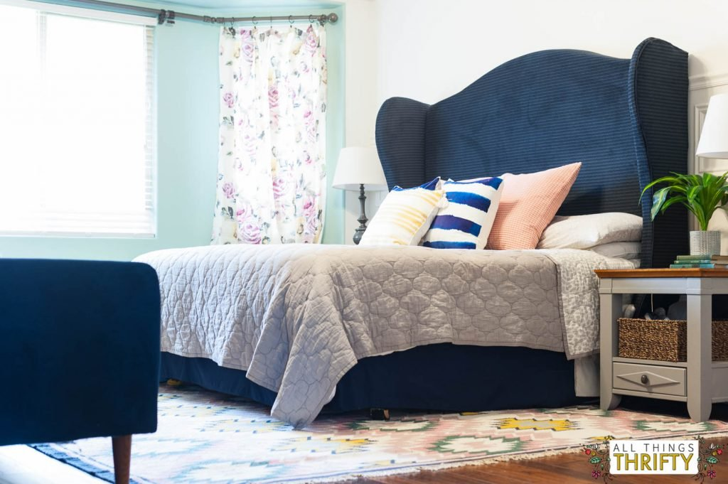 Navy Blush Yellow Green Master Bedroom Refresh Guideline To DIY Tufted Headboard