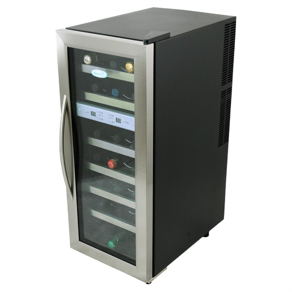 Newair 21 Bottle Dual Zone Zone Wine Cooler Cellar How To Installing Wine Cooler Cabinet
