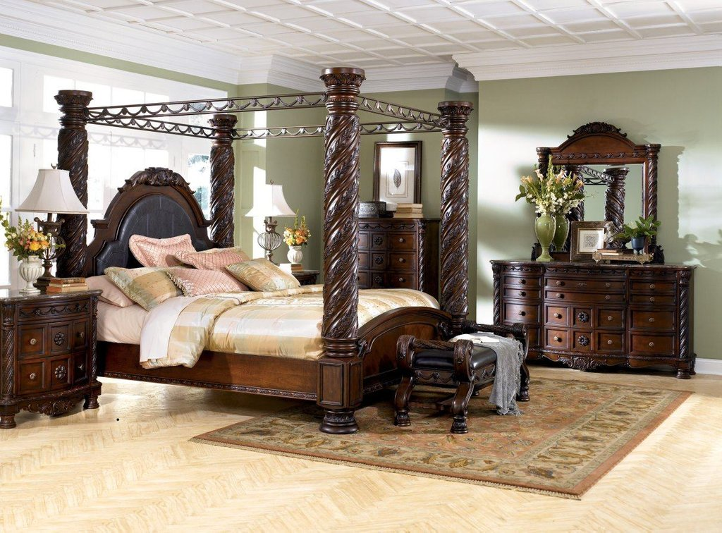 North Shore Canopy Bed Set Ashley North Shore Furniture How Make Queen Bookcase Headboard
