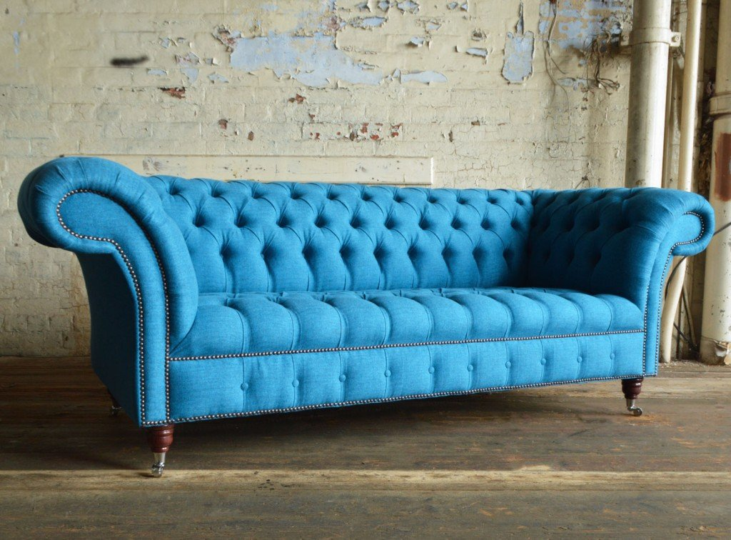 Nuvo Cobalt Blue Wool 3 Seater Chesterfield Sofa Abode Sofa Velvet Chesterfield Sofa Ideas
