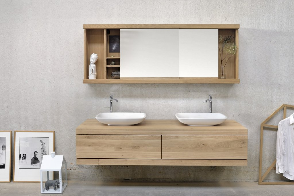 Oak Cadence Double Vanity Unit Ethnicraft Solid Wood Vanity Units For Bathrooms