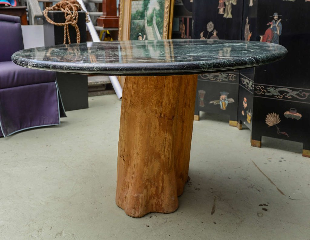 Organic Michael Taylor Tree Trunk Marble Dining Table Mid Make A Tree Trunk Coffee Table