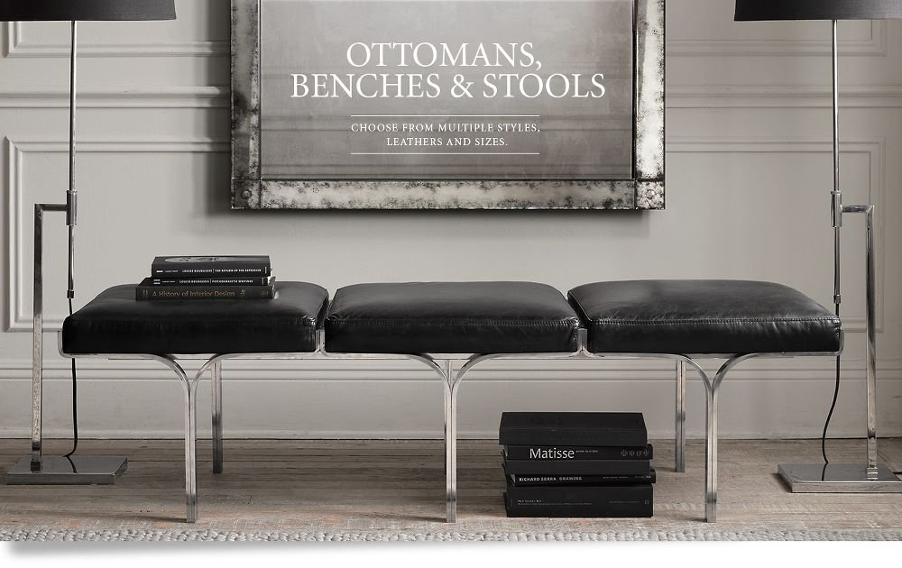 Ottomans Bench Stool Rh Decorate A Leather Ottoman Coffee Table