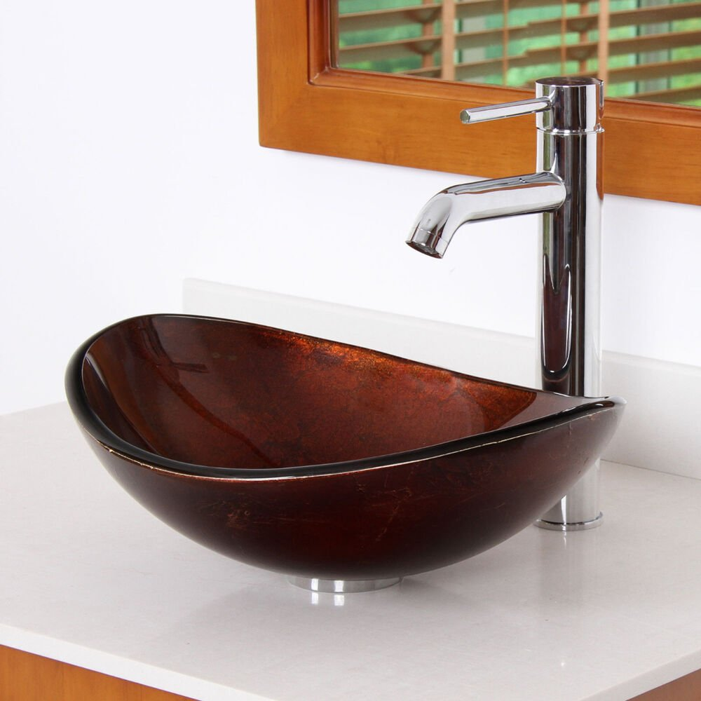 Oval Artistic Bronze Tempered Bathroom Glass Vessel Sink Oil Rubbed Bronze Kitchen Faucet Vs Chromium
