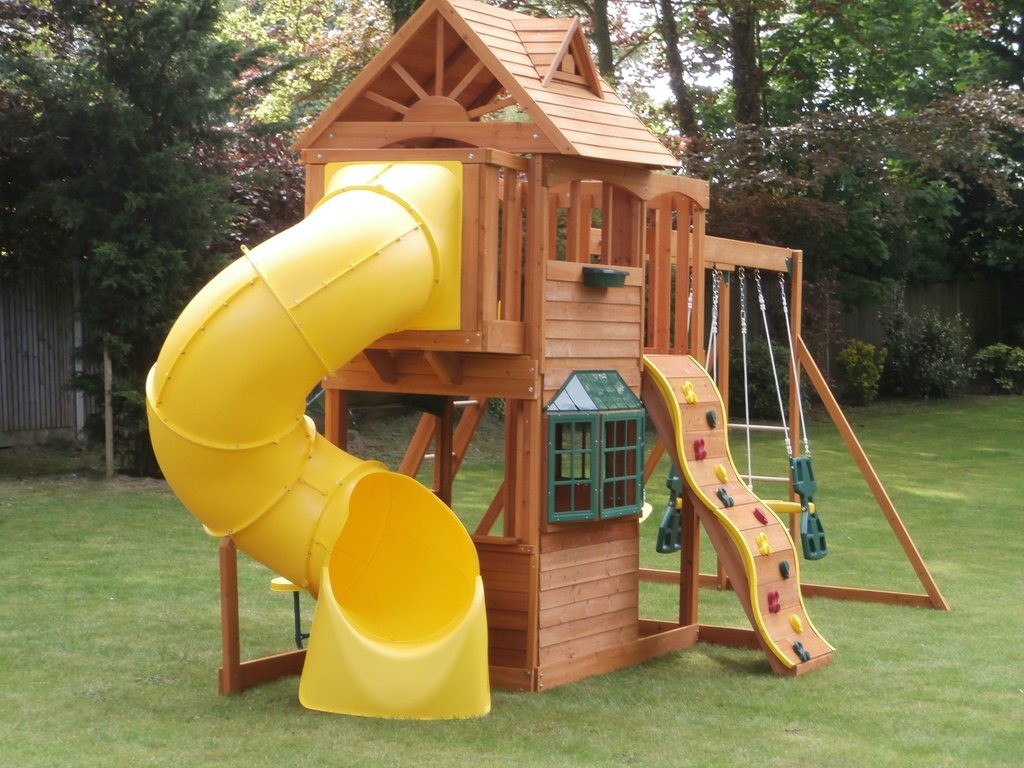 Overwhelming Kid Wooden Playhouse Decorating Idea Outdoor Wooden Playhouse With Slide
