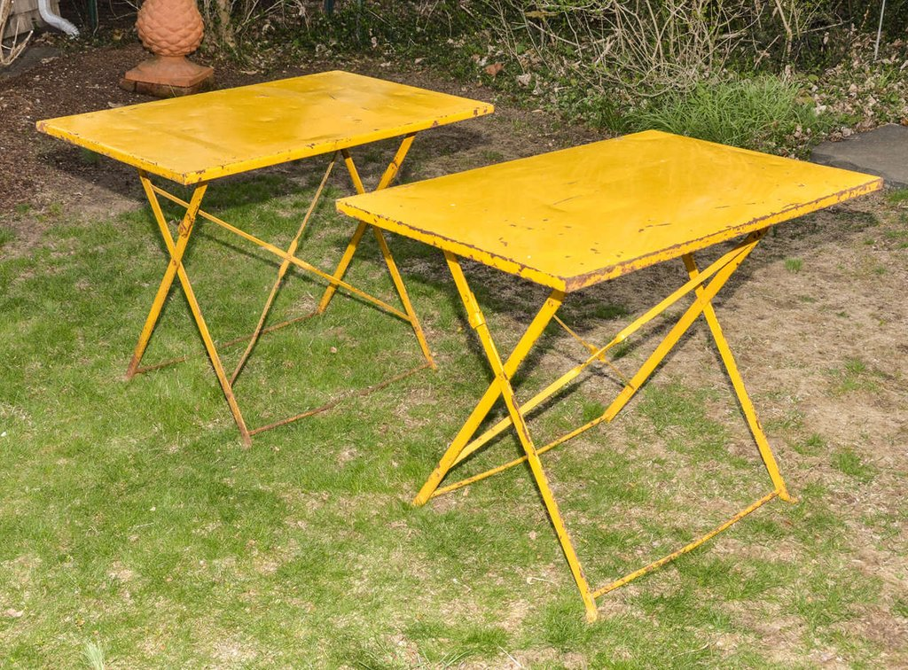 Pair English Cowdray Yellow Folding Garden Table Considering For Square Bistro Table