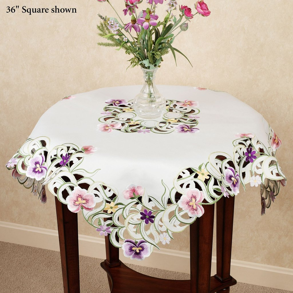 Pansy Patch Embroidered Floral Table Topper Changing Table Topper Children