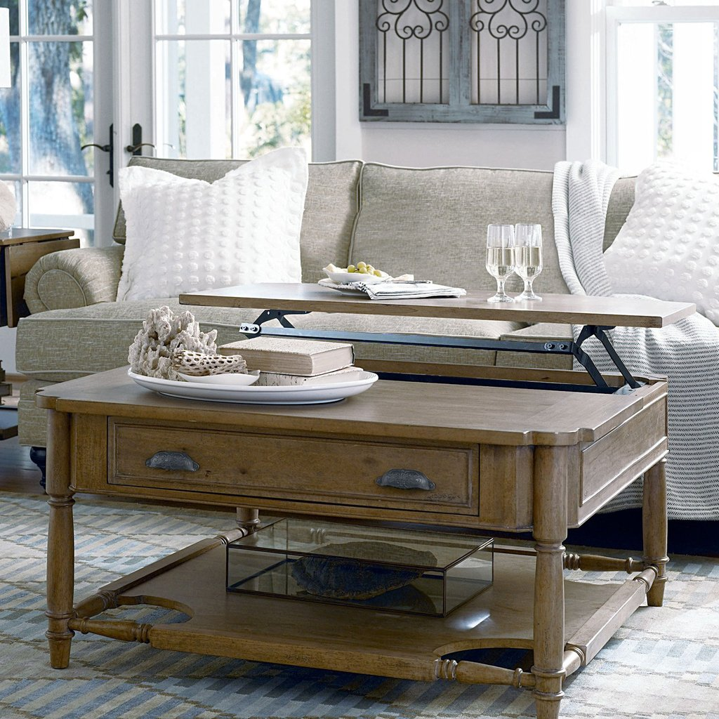 Paula Deen Home Visitin 39 Square Oatmeal Wood Lift Top A Unique Square Lift Top Coffee Table