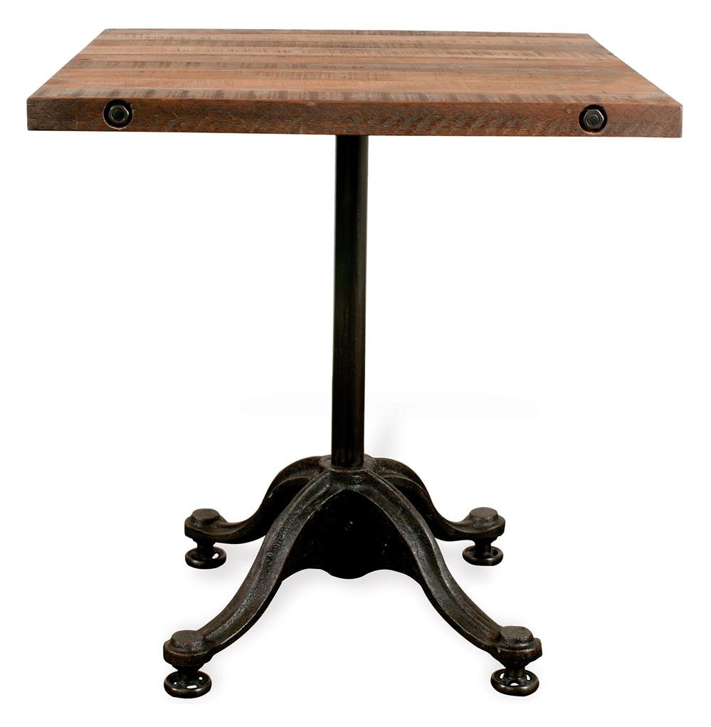 Pedro Reclaimed Wood Industrial Square Bistro Cafe Dining Considering For Square Bistro Table