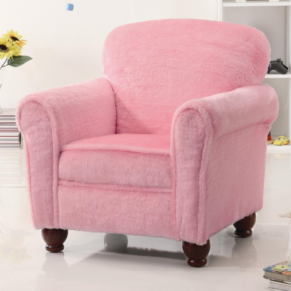 Pink Color Kid Upholstered Accent Chair Wingback Making An Drop Leaf Kitchen Table