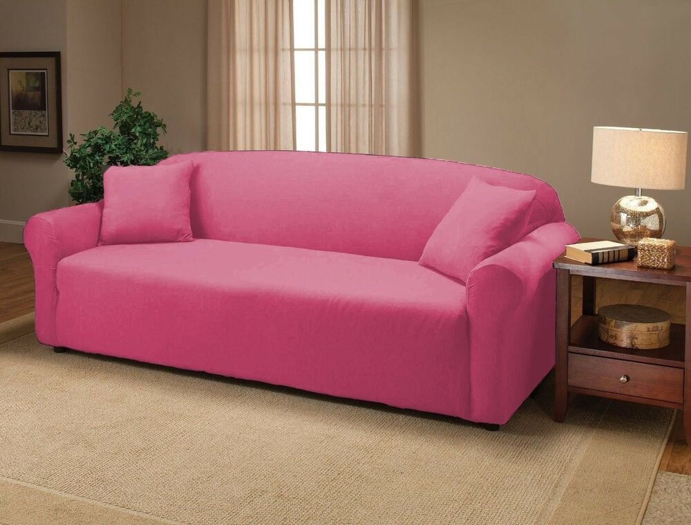 Pink Jersey Sofa Stretch Slipcover Couch Cover Furniture How A Reclining Sofa To Function Properly
