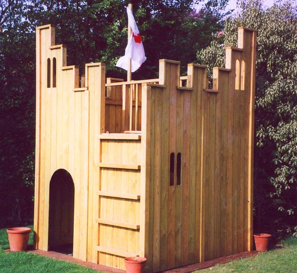 Playhouse Garden Building Outdoor Wooden Playhouse With Slide
