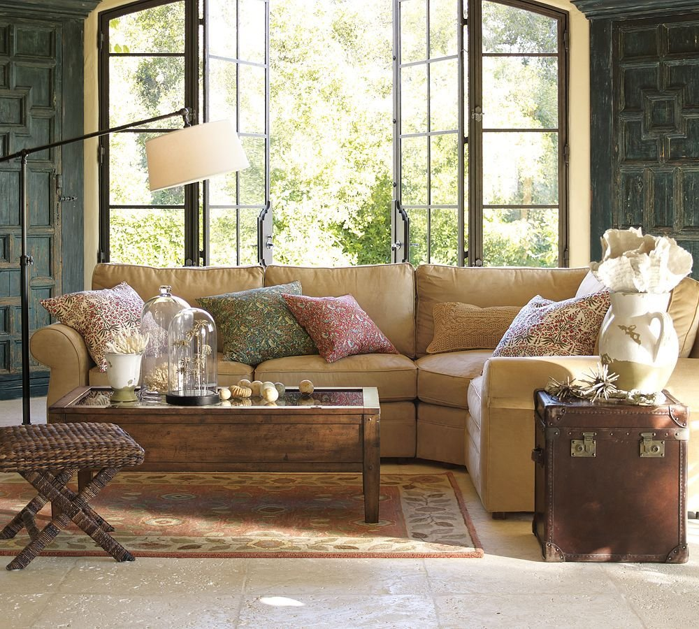 Pottery Barn Living Room Wood Shutters Turquoise Deep Sectional Sofas Living Room Furniture