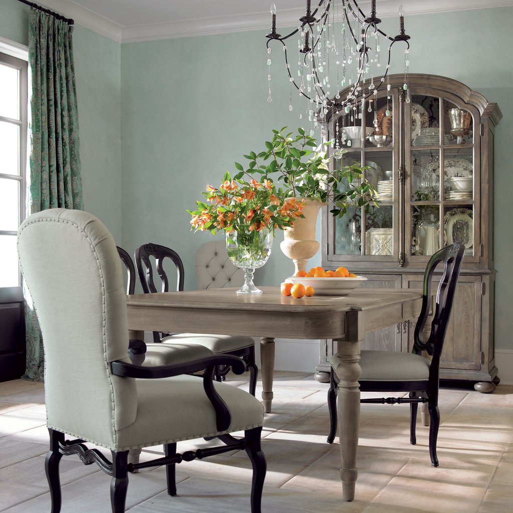 Powell Turino Grey Oak Dining Room Kitchen Table 4 Chair Reclaimed Wood Round Dining Table