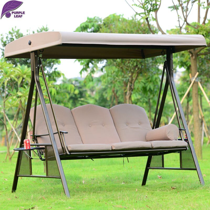 Purpleleaf Outdoor Patio Swing Chair Furniture High Wooden Porch Swings With Frame