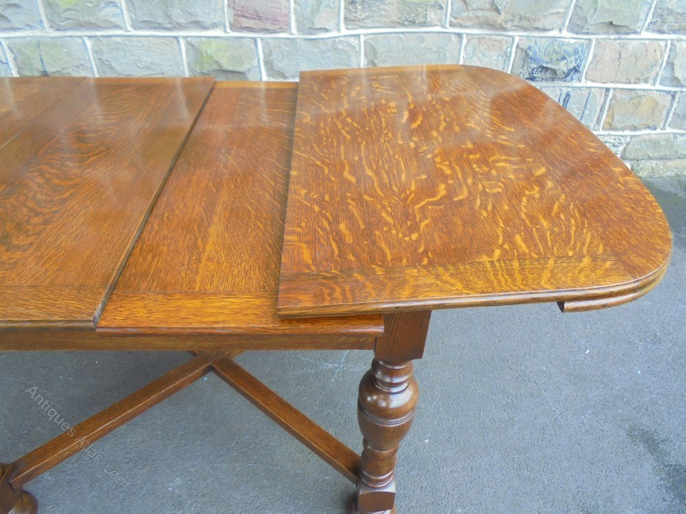 Quality Antique Oak 2 Leaf Extending Dining Table Double Pedestal Dining Table Antique