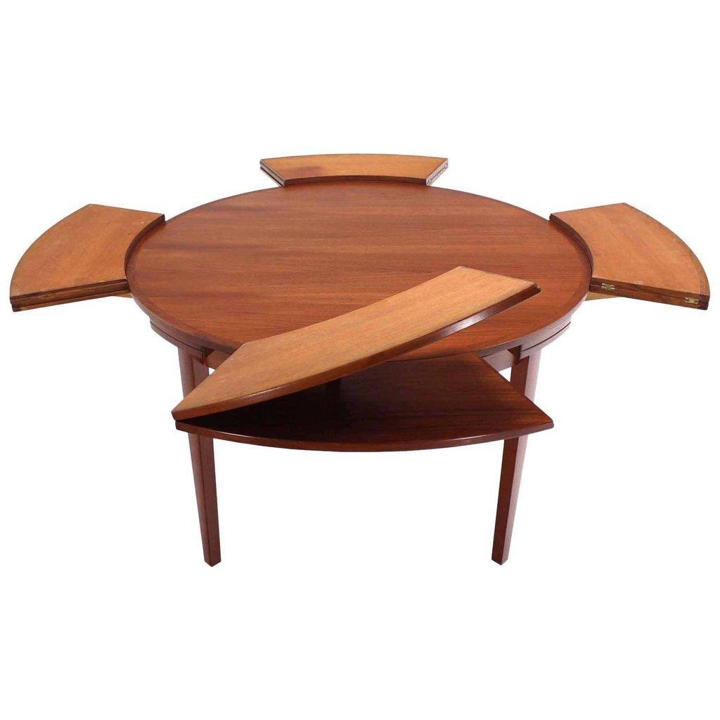 Rare Danish Modern Teak Expandable Top Dining Table Classic Round Extendable Dining Table
