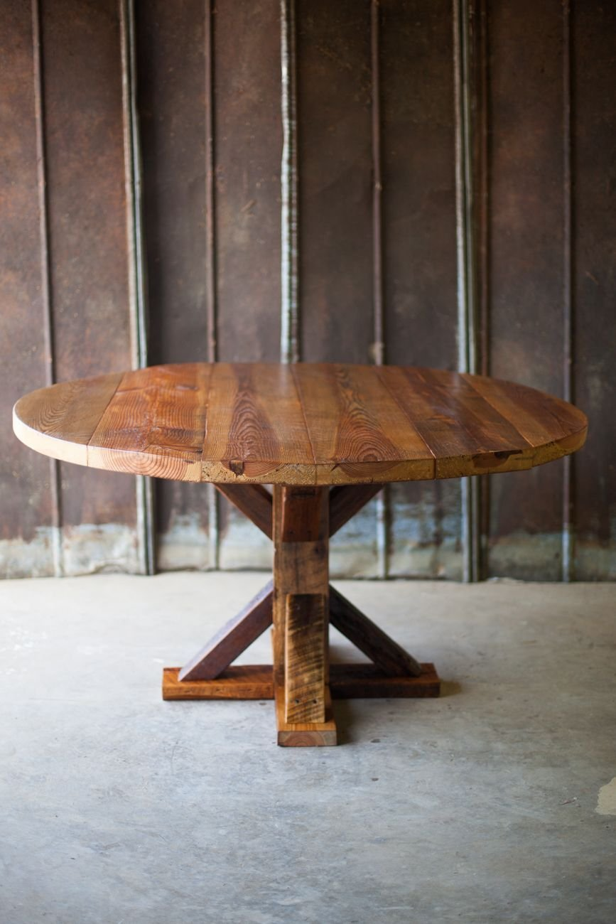 Reclaimed Wood Table Diy Furniture Project Wood Reclaimed Wood Round Dining Table