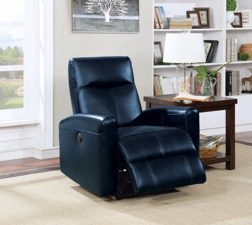 Recliner Power Motion Navy Blue Leather Chair Blue Velvet Couch