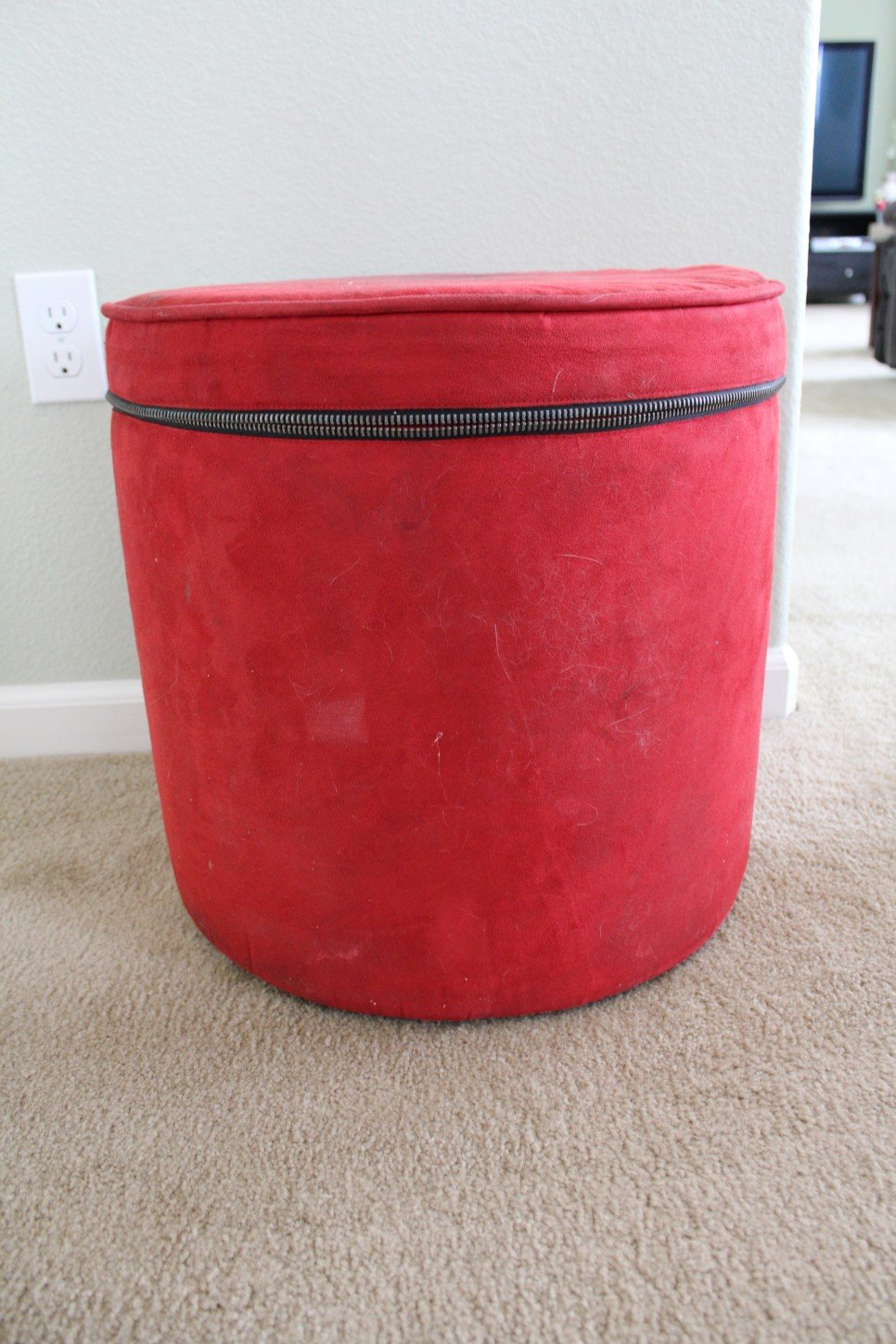 Red Color Fabric Ottoman Storage Zipper How To Make Round Ottoman Coffee Table
