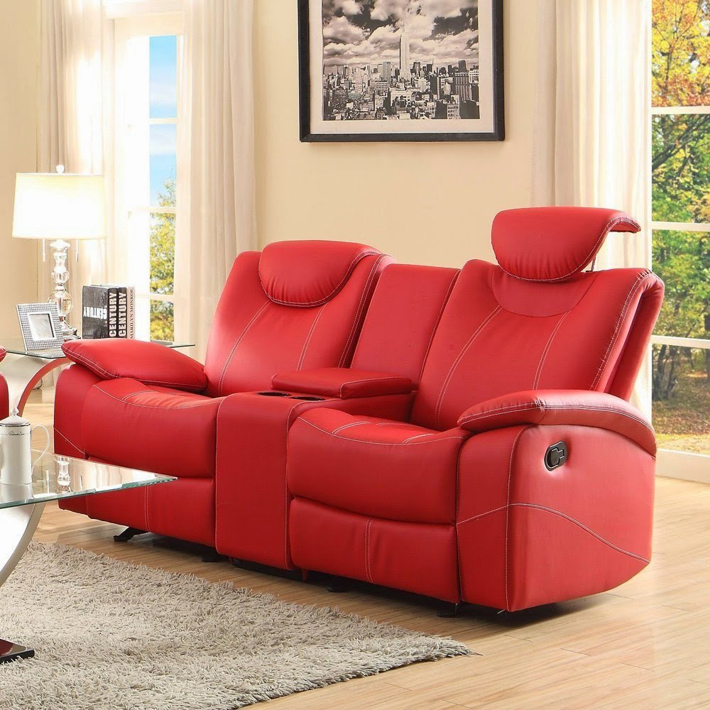 Red Leather Sofa Recliner Red Leather Reclining Sofa Leather Sofa Recliner With Console