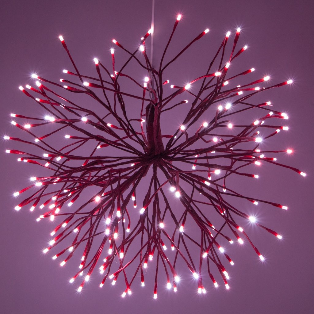 Red Starburst Lighted Branch Red Cool White Led Outdoor Christmas Decorations Ideas