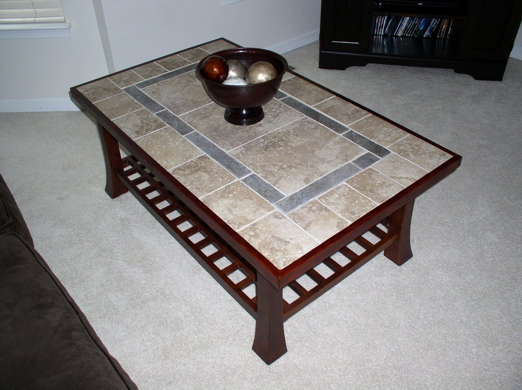 Refinished Coffee Table Tile Top Wood How To Refinish Marble Table Tops