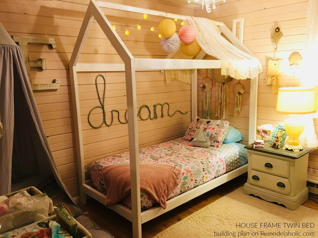 Remodelaholic House Frame Twin Bed Building Plan How To Build A Wood Twin Bed Frame