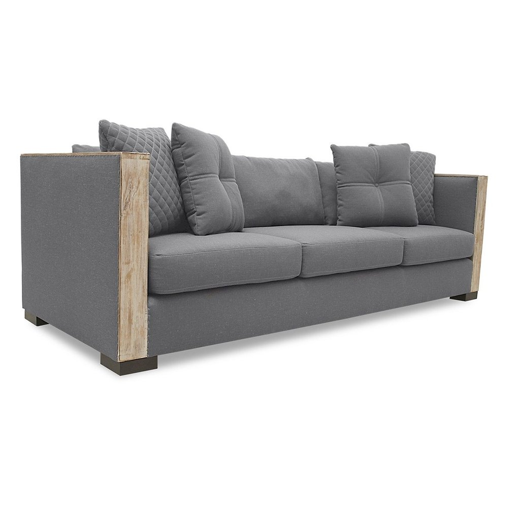 Restoral Linen Sofa Reclaimed Wood Round Dining Table