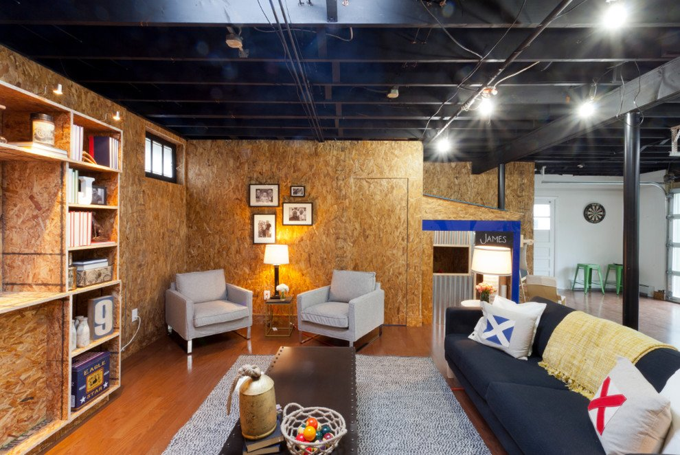 Rustic Basement Ceiling Idea Basement Industrial Outdoor Wooden Spiral Staircase