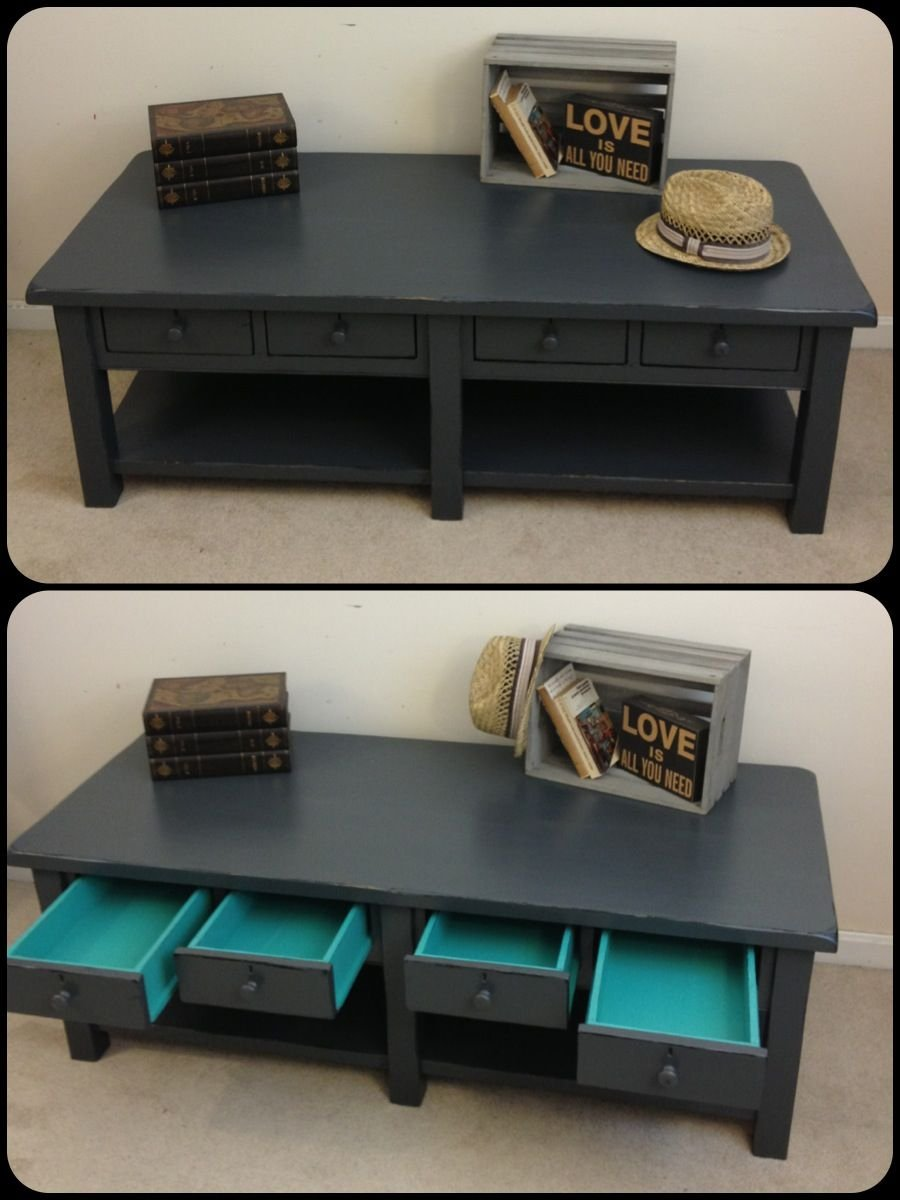 Rustic Chic Charcoal Grey Painted Coffee Table Painted The Wicker End Tables