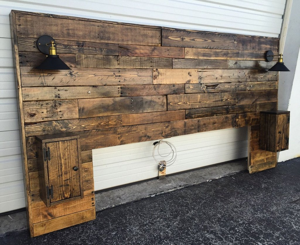Rustic Headboard Rustic Lights Headboard King Size   Bed Frame With Headboard