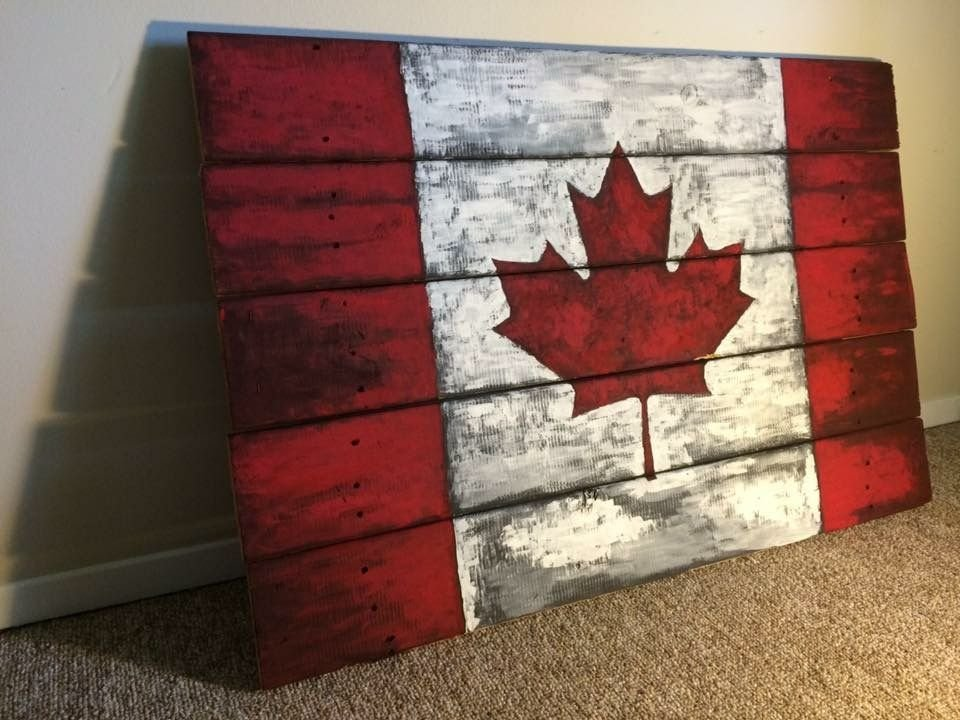 Rustic Vintage Canada Flag Art Painted Wood Pallet White Washed Laminate Flooring With Vinegar