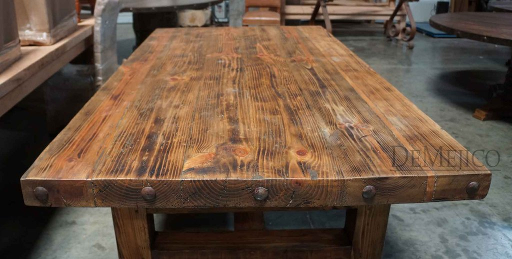 Rustic Wood Table Top Thick Trestle Base Tierra Este How To Build Round Wood Table Tops